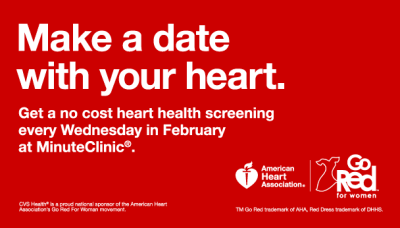 "CVS is offering free ""Know Your Numbers"" heart-health screenings on Thursdays at participating MinuteClinics throughout the month (February 6, February 13 and February 20). No appointment is necessary."