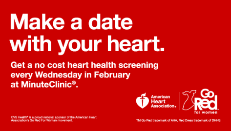 """CVS is offering free """"Know Your Numbers"""" heart-health screenings on Thursdays at participating MinuteClinics throughout the month (February 6, February 13 and February 20). No appointment is necessary."""
