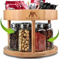 Amazon : **50% Off ** 2-tier Lazy Susan Divided Turntable 10inch Bamboo Spinning Spice Rack Holder W/Code + Lightening Deal (Reg : $27.99) (As of 3/29/2020 7.22 PM CST)