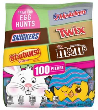 AMAZON: 100 Pieces M&M'S, Snickers, Twix, 3 Musketeers & Starburst Chocolate Easter Candy ONLY $9.98