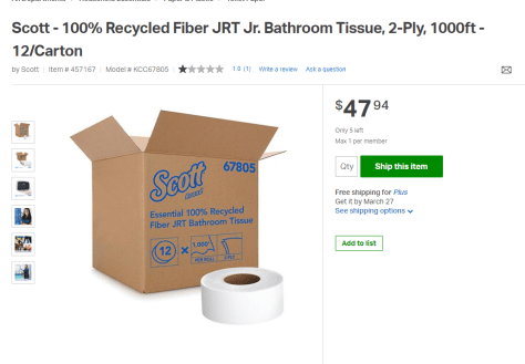 Toilet Paper on stock for free shipping at Sams Club