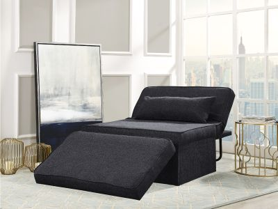 WALMART: Relax A Lounger Myles Otto-Kube Convertible Ottoman Upholstered Fabric, Charcoal