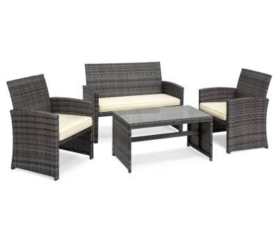 WALMART: 4-Piece Rattan Wicker Patio Conversation Furniture Set, Table, Tempered Glass Tabletop, 3 Sofas, $249.99 (Reg $374.99)