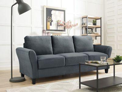 WALMART: Lifestyle Solutions Alexa 3-Seat Rolled Arm Microfiber Sofa, Dark Grey $279.00 (Reg $500.00)