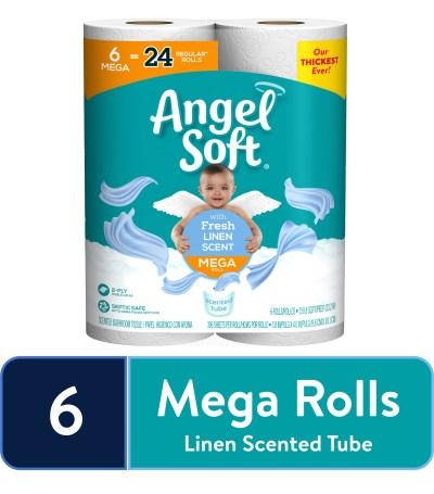 WALMART: Angel Soft Toilet Paper, Linen, 6 Mega Rolls (= 24 Regular Rolls)
