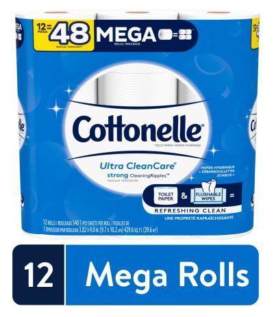 WALMART: Cottonelle Ultra CleanCare Toilet Paper, Strong Bath Tissue, Septic-Safe, 12 Mega Rolls