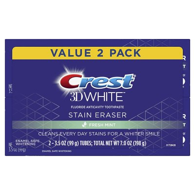 AMAZON: Crest 3D White Stain Eraser Whitening Toothpaste, Fresh Mint, 2 Count, 4 QTY for $14.96 (Reg. Price $19.96)