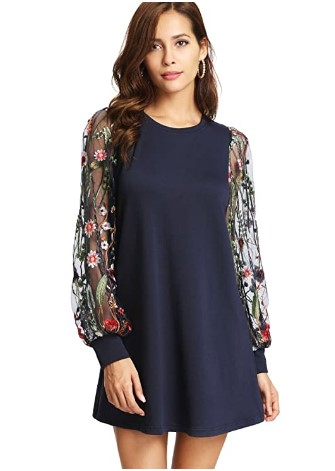 AMAZON: DIDK Women's Tunic Dress with Embroidered Floral Mesh Bishop Sleeve – 75% OFF!