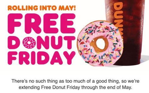 Reminder: Get a Free Donut at Dunkin Donuts Friday