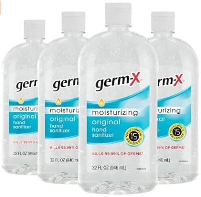 AMAZON: Germ-X Hand Sanitizer, Original, 32 Fluid Ounce (Pack of 4), 128 Fl Oz $17.99