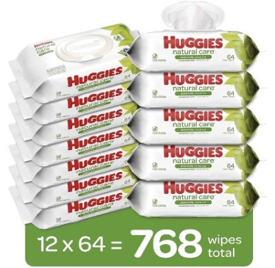 AMAZON: HUGGIES Natural Care Baby Wipes, 12 Packs, 768 Total Wipes $18.97