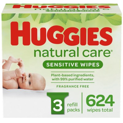 WALMART: Huggies Natural Care Sensitive Baby Wipes, Unscented, 3 Refill Packs (624 Wipes Total)