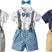 AMAZON: 5pcs Little Boys Gentleman Outfit Suits, Baby Boys Short Pants Set $11.2 ($28)