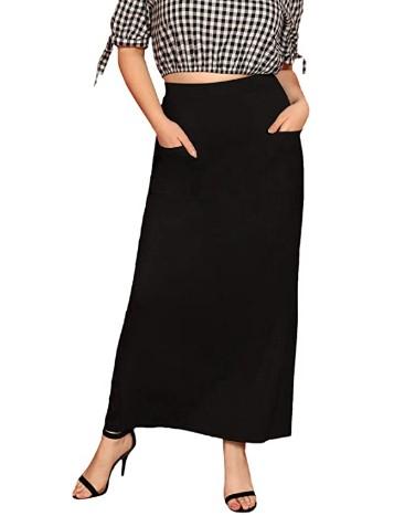 AMAZON: Verdusa Women's Plus Size Patched Pocket Elastic Waist Long Skirt – 70% OFF!