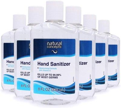 AMAZON: Natural Concepts Hand Sanitizer Gel, 6-Pack, 8 oz Bottles, 65% Ethyl Alcohol