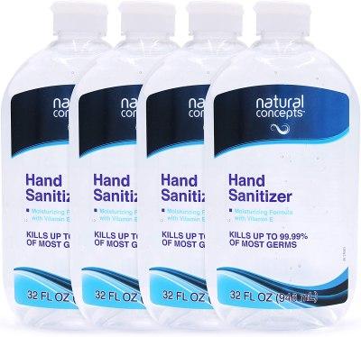 AMAZON: Natural Concepts Hand Sanitizer Gel, Bulk Pack of 4, 32 oz Bottles, 65% Ethyl Alcohol