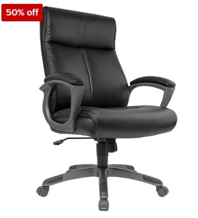 STAPLES: Wedgemere Bonded Leather High-Back Manager Chair, Black $74.99 (Reg $179.99) WITH CODE 57492
