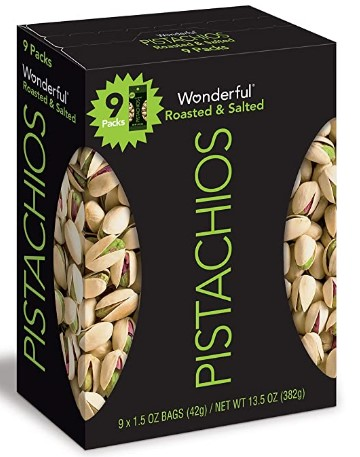 AMAZON: Wonderful Pistachios, Roasted and Salted, 1.5 Ounce Bags (Pack of 9) $6.59