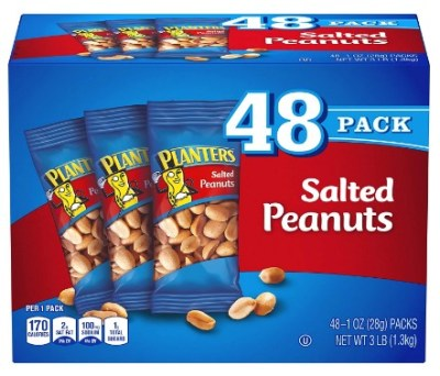 AMAZON: PLANTERS Salted Peanuts, 1 oz. Bags (48 Pack)   Snack Size Peanuts