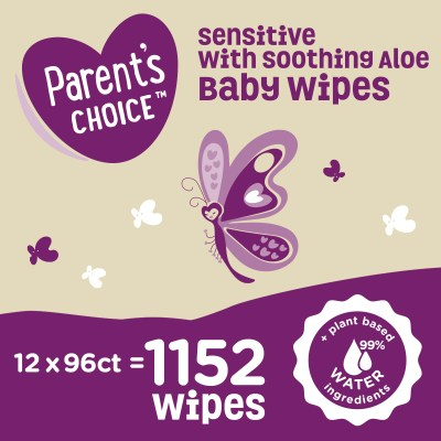 WALMART: Parent's Choice Sensitive with Soothing Aloe Baby Wipes, 12 packs of 96 (1152 count)