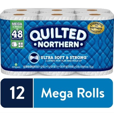 WALMART: 12 Mega Rolls Quilted Northern Ultra Soft & Strong Toilet Paper JUST $12.24