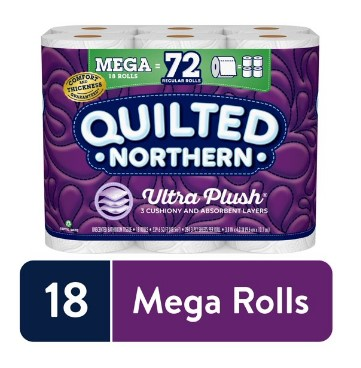 WALMART: Quilted Northern Ultra Plush Toilet Paper, 18 Mega Rolls (= 72 Regular Rolls) $17.48
