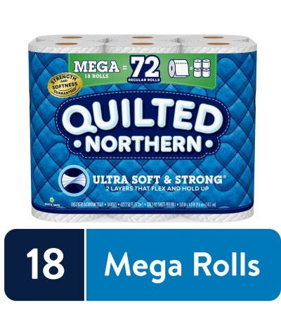 WALMART: Quilted Northern Ultra Soft & Strong Toilet Paper, 18 Mega Rolls (= 72 Regular Rolls)