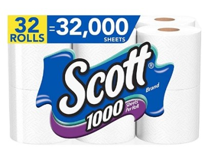 AMAZON: Scott 1000 Sheets Per Roll, 32 (4 Packs of 8) Toilet Paper Rolls, Bath Tissue $27.99