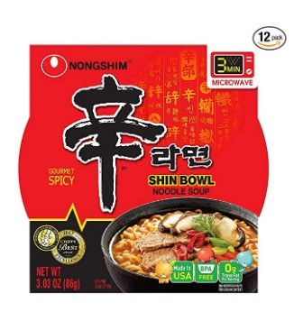 AMAZON: Pack of 12 Nongshim Shin Bowl Noodle Soup, Gourmet Spicy, 3.03oz for $9.00 Shipped!