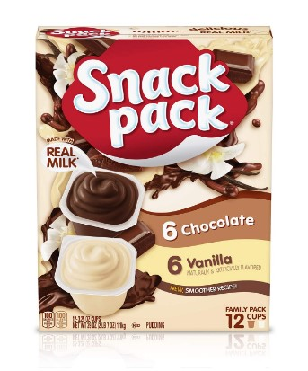 AMAZON: Snack Pack Chocolate and Vanilla Pudding Cups Family Pack, 12 Count