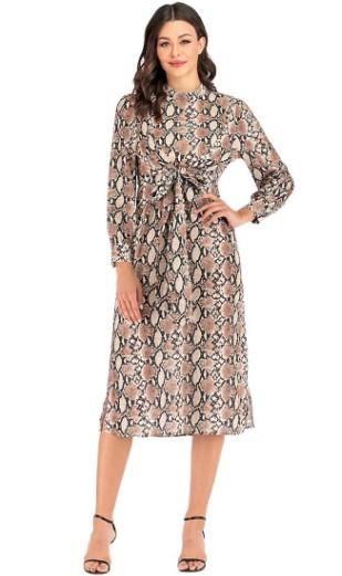 AMAZON: Fancyluna Women's Vintage Dress Elegant Mock Neck Snakeskin Print Dress $10.40