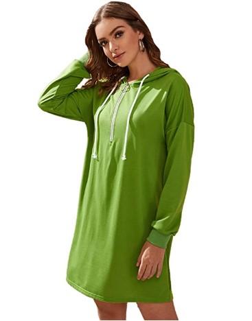 AMAZON: Milumia Women's Casual Loose Long Sleeve Hoodie Pullover Sweatshirt Dress – 70% OFF!