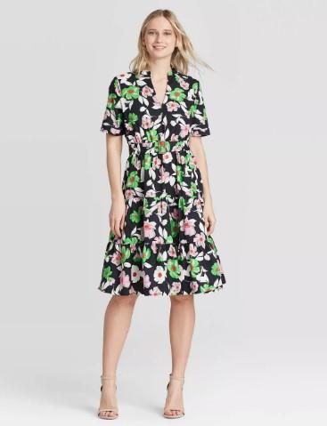 TARGET: Women's Short Sleeve Belted Tiered Dress For $ 25.89 (Reg.$36.99)
