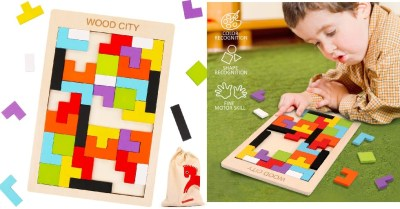 AMAZON: 40pcs Wooden Tetris Puzzle for Toddlers 3 Yrs Old, Tangram Jigsaw Puzzle, Brain Teasers $4.94 ($9)