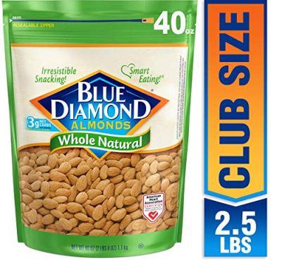 AMAZON: 40 Oz Blue Diamond Almonds, Raw Whole Natural $10.98 (Reg $18)
