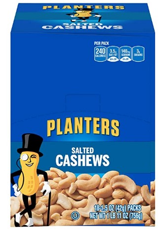 AMAZON: PLANTERS Salted Cashews, 1.5 oz. Bags (18 Pack) | Individually Packed