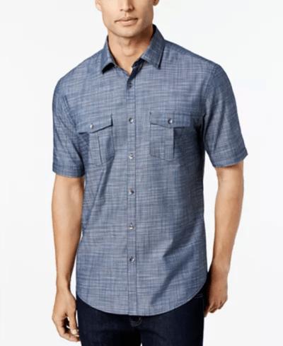 MACY'S: Alfani Men's Warren Textured Short Sleeve Shirt for $19.99 + Free Curbside Pickup! (Reg. Price $50.00)