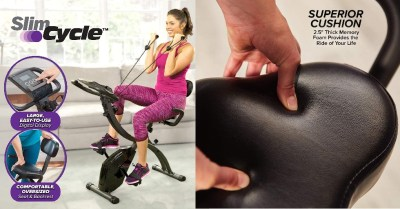 AMAZON: Slim Cycle Stationary Bike – Folding Indoor Exercise Bike w/ Arm Resistance Bands $40 ($200) Shipped