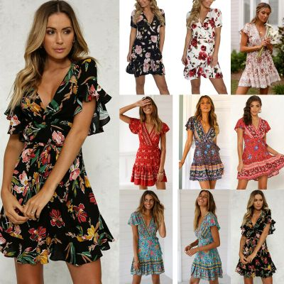 eBay: Women Boho Floral Short Sleeve V Neck Mini Dress Summer Holiday Wrap Sundress $10.39
