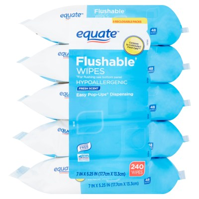 WALMART: Equate Flushable Wipes, Fresh Scent, 5 packs of 48 wipes