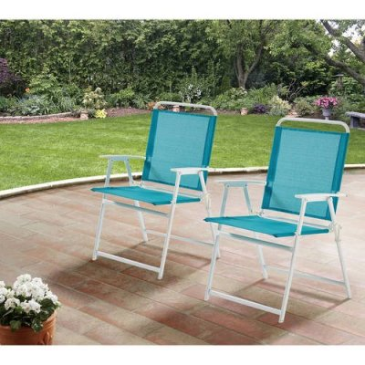 WALMART: Mainstays Pleasant Grove Sling Folding Chair, Set of 2, Teal $54.99