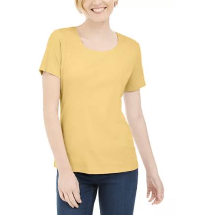 MACY'S: Karen Scott Short Sleeve Scoop Neck Top for $9.99 + Free Curbside Pickup! (Reg. Price $12.99)