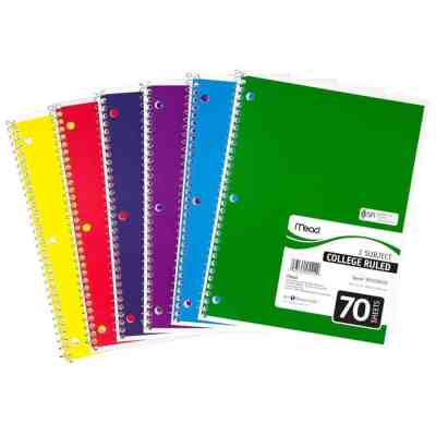 Staples: Mead Spiral 1-Subject Notebook, College Ruled, 70 Sheets, Assorted Colors $0.75 (Reg $3.97)
