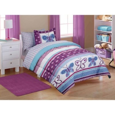 WALMART: 7-Pcs Kids Purple Butterfly Coordinated Bed In A Bag For $30 (Was $44) + Store Pickup!