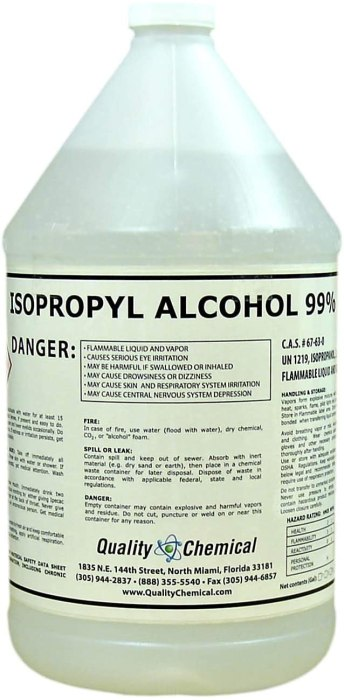 AMAZON: Quality Chemical Isopropyl Alcohol Grade 99% Anhydrous (IPA)-1 Gallon (128 oz.)