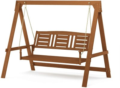 AMAZON: Tioman Hardwood Patio Furniture 3-Seater Swing with Stand, Natural – PRICE DROP!