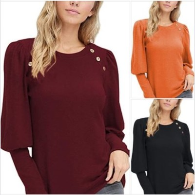 AMAZON: Viottiset Women's Long Puff Sleeve T Shirt Crew Neck Tops Button, 50% OFF WITH CODE 50BH4SKV