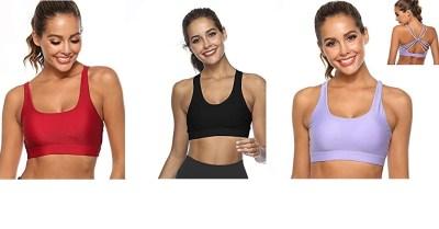 AMAZON: Women Sports Bra Phone Pocket Racerback Full Coverage Shock Proof Seamless Bra $8.5 ($17)