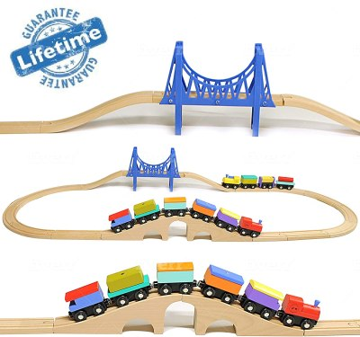 AMAZON: Wooden Train set by Elk & Bear, USE code 70O4B9JT TO SAVE!