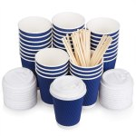Amazon: Coffee Cups with Lids 12oz & Bamboo Stirrers 100 Pack For $14.99